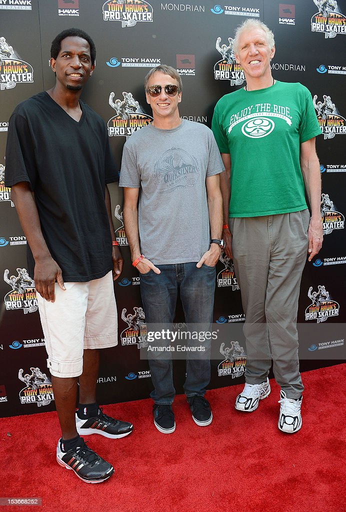 Former NBA player A. C. Green, skateboarder <a gi-track='captionPersonalityLinkClicked' href=/galleries/search?phrase=Tony+Hawk+-+Skateboarder&family=editorial&specificpeople=201818 ng-click='$event.stopPropagation()'>Tony Hawk</a> and former NBA player <a gi-track='captionPersonalityLinkClicked' href=/galleries/search?phrase=Bill+Walton&family=editorial&specificpeople=202884 ng-click='$event.stopPropagation()'>Bill Walton</a> arrive at the 9th Annual Stand Up For Skateparks Benefiting The <a gi-track='captionPersonalityLinkClicked' href=/galleries/search?phrase=Tony+Hawk+-+Skateboarder&family=editorial&specificpeople=201818 ng-click='$event.stopPropagation()'>Tony Hawk</a> Foundation at a private residence on October 7, 2012 in Beverly Hills, California.