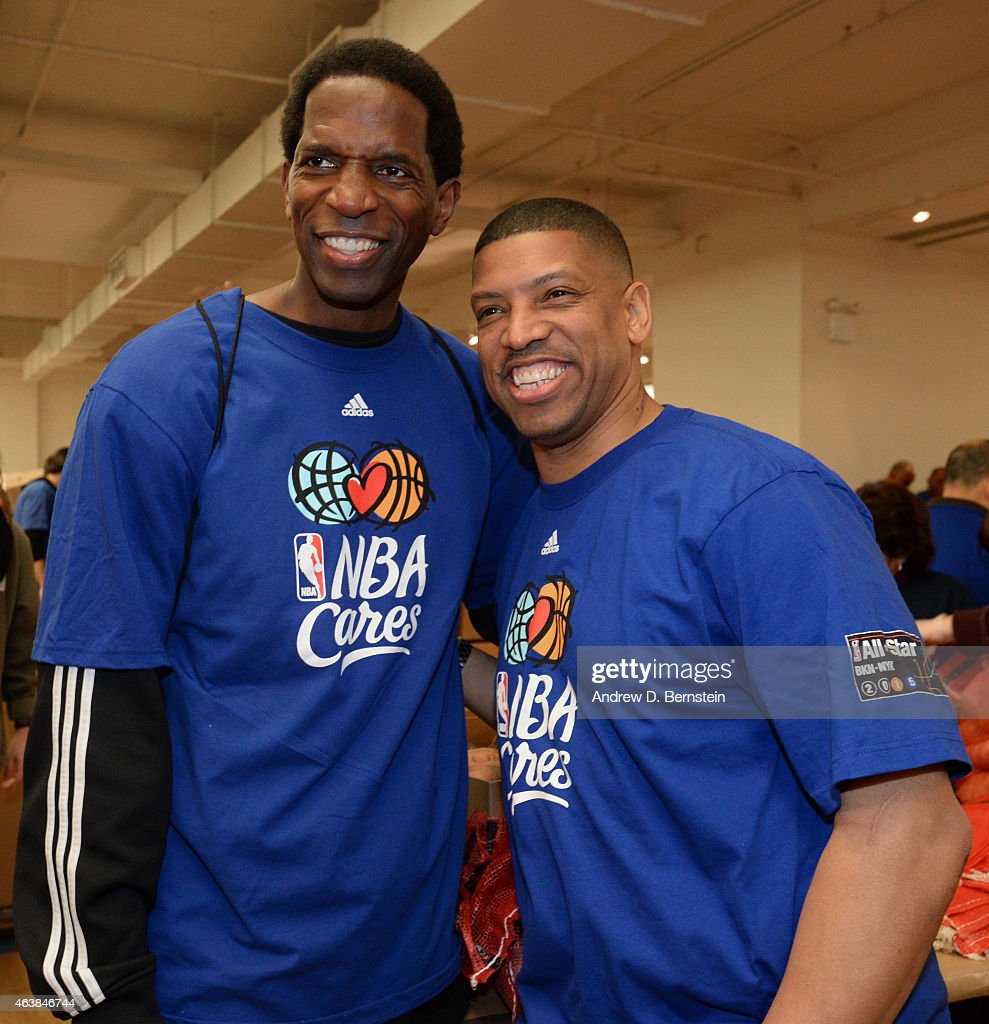 Former NBA Player AC Green and Sacramento Mayor Kevin Johnson participate in the NBA Cares AllStar Day of Service at the Metropolitan Pavilion on...