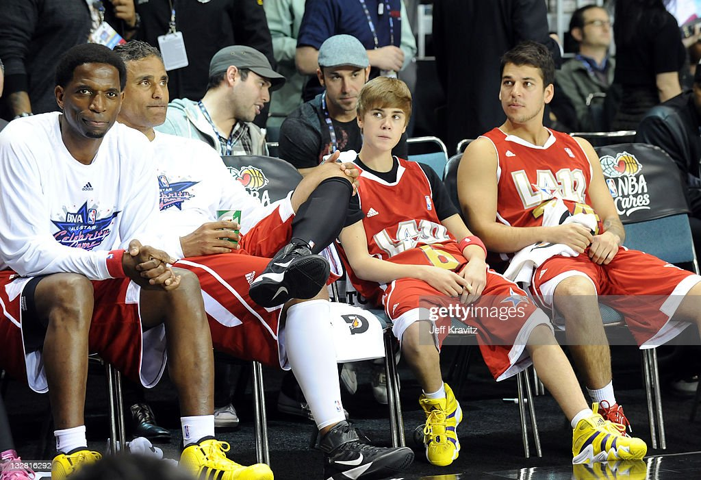 Former NBA Player AC Green Former NBA Player Rick Fox Singer Justin Bieber and TV Personality Rob Kardashian during the 2011 BBVA NBA AllStar...