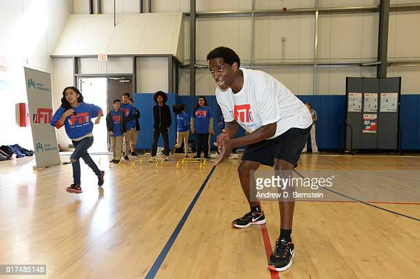 Former NBA player AC Green participates in a DLeague FIT Clinic held at Prarie Vista Middle School in Hawthorne California on March 22 2016 NOTE TO...
