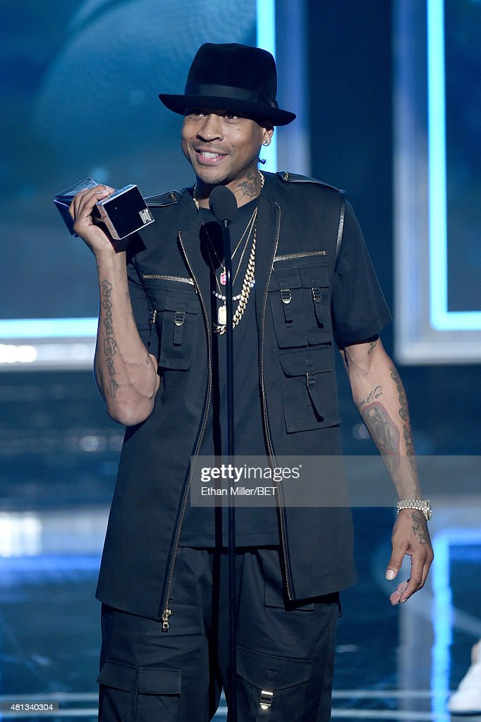 Former NBA player Allen Iverson accepts the 2015 Game Changer Award during The Players' Awards presented by BET at the Rio Hotel & Casino on July 19, 2015 in Las Vegas, Nevada.
