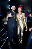 Former NBA player Allen Iverson and singer Monica appear backstage at The Players' Awards presented by BET at the Rio Hotel Casino on July 19 2015 in...
