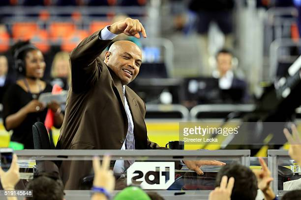 Former NBA player and commentator Charles Barkley points to the crowd prior to the 2016 NCAA Men's Final Four National Championship game between the...