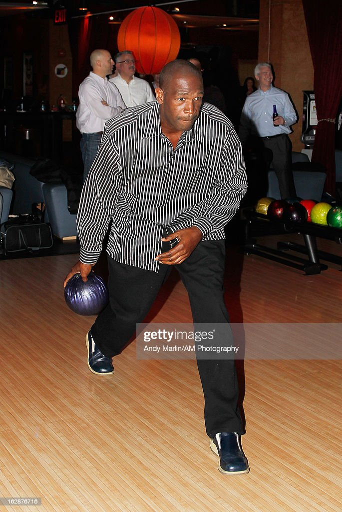 Former NBA player and present New York Knicks assistant coach <a gi-track='captionPersonalityLinkClicked' href=/galleries/search?phrase=Herb+Williams&family=editorial&specificpeople=220473 ng-click='$event.stopPropagation()'>Herb Williams</a> bowls during the John Starks Foundation Celebrity Bowling Tournament on February 25, 2013 in New York City.