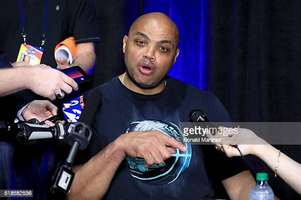 Former NBA player and TNT commentator Charles Barkley is interviewed during a practice session for the 2016 NCAA Men's Final Four at NRG Stadium on...
