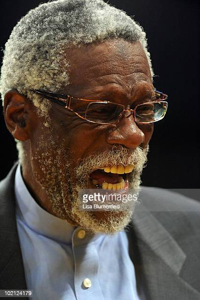 Former NBA player Bill Russell stands on the court before Game Six of the 2010 NBA Finals at Staples Center between the Los Angeles Lakers and the...