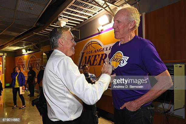 Former NBA player Bill Walton and Mike D'Antoni of the Houston Rockets shake hands before the game against the Los Angeles Lakers on October 26 2016...