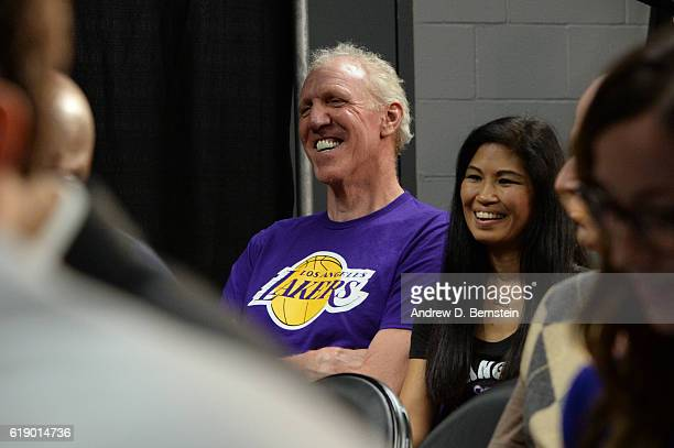 Former NBA player Bill Walton sits in on the Los Angeles Lakers pregame press conference before the game against the Houston Rockets on October 26...