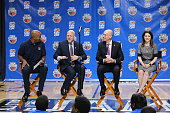 Former NBA player Bruce Bowen New Orleans Mayor Mitch Landrieu and NBA Commissioner Adam Silver sit during a NBA FIT AllStar Youth Celebration as...