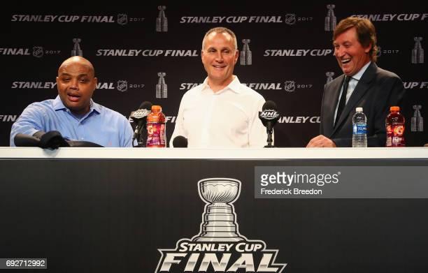 Former NBA Player Charles Barkley former Edmonton Oilers Paul Coffey and NHL Centennial Ambassador Wayne Gretzky speak during a press conference...