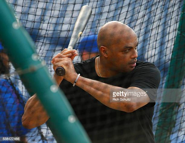 Former NBA player Charles Barkley takes batting practice before a game between the Chicago Cubs and the Philadelphia Phillies at Citizens Bank Park...