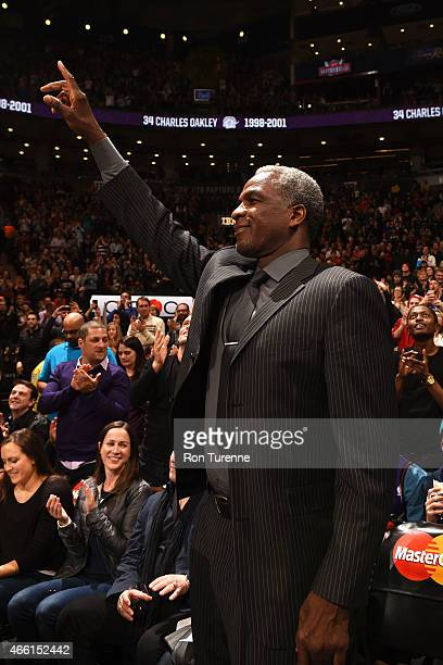 Former NBA player Charles Oakley during the game between the Miami Heat and Toronto Raptors on March 13 2015 at the Air Canada Centre in Toronto...