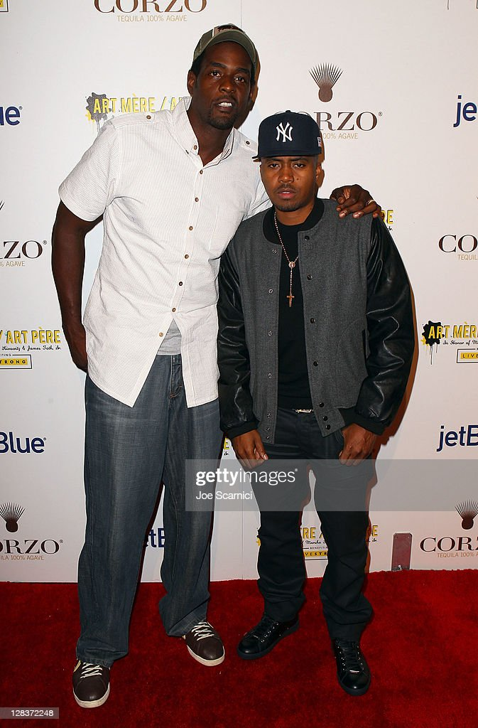 Former NBA player <a gi-track='captionPersonalityLinkClicked' href=/galleries/search?phrase=Chris+Webber&family=editorial&specificpeople=201510 ng-click='$event.stopPropagation()'>Chris Webber</a> (L) and rapper/actor <a gi-track='captionPersonalityLinkClicked' href=/galleries/search?phrase=Nas&family=editorial&specificpeople=204627 ng-click='$event.stopPropagation()'>Nas</a> arrive at the second annual Art Mere/Art Pere Night presented by CORZO Tequila at Smashbox West Hollywood on October 6, 2011 in West Hollywood, California.