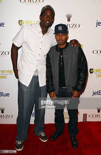 Former NBA player Chris Webber and rapper/actor Nas arrive at the second annual Art Mere/Art Pere Night presented by CORZO Tequila at Smashbox West...