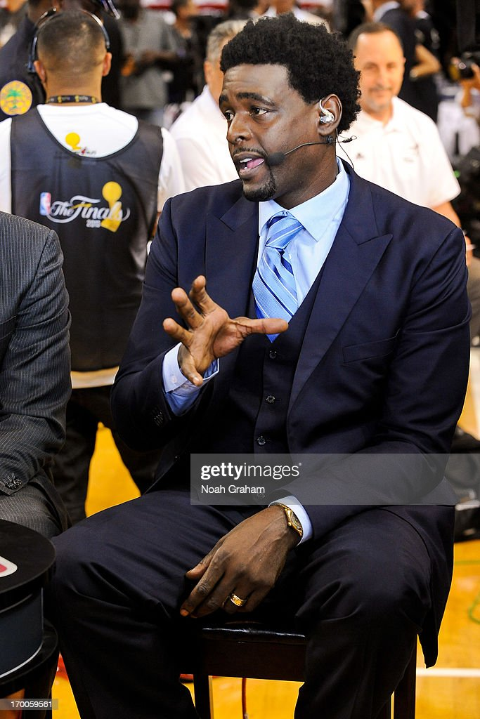 Former NBA player Chris Webber speaks during an NBA TV broadcast before the San Antonio Spurs played the Miami Heat in Game One of the 2013 NBA Finals on June 6, 2013 at American Airlines Arena in Miami, Florida.