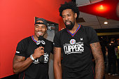 Former NBA player Corey Maggette interviews DeAndre Jordan of the Los Angeles Clippers during the 16th annual Charity BasketBowl Challenge at...