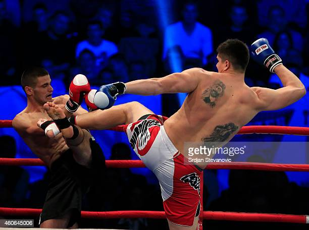 Former NBA player Darko Milicic fights against Radovan Radojcin during their kickboxing match at the Soul Night of Champions at Spens Hall on...