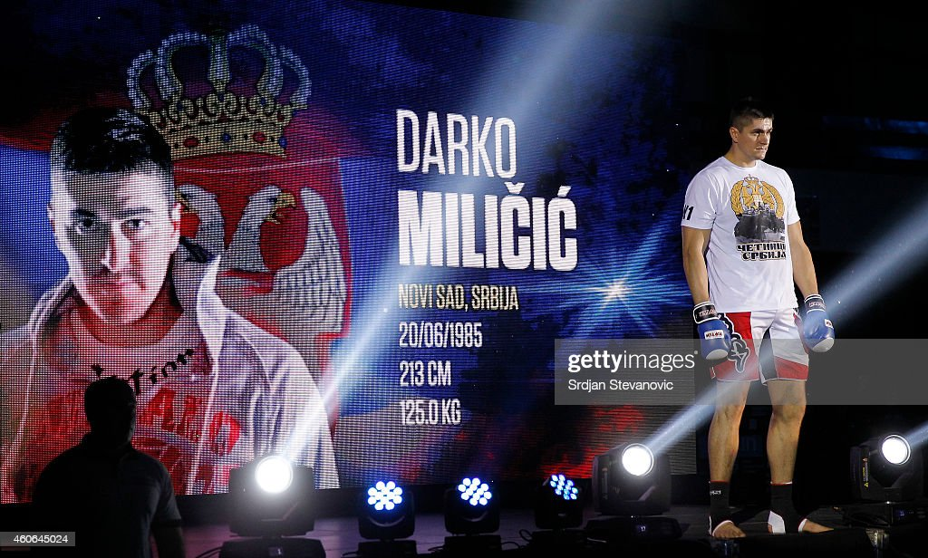 Former NBA player <a gi-track='captionPersonalityLinkClicked' href=/galleries/search?phrase=Darko+Milicic&family=editorial&specificpeople=204586 ng-click='$event.stopPropagation()'>Darko Milicic</a> prepares for the fights against Radovan Radojcin prior their kickboxing match at the Soul Night of Champions at Spens Hall on December 18, 2014 in Novi sad, Serbia.