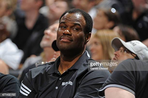 Former NBA player David Robinson attends the San Antonio Spurs game against the Los Angeles Clippers in Game Four of the Western Conference...