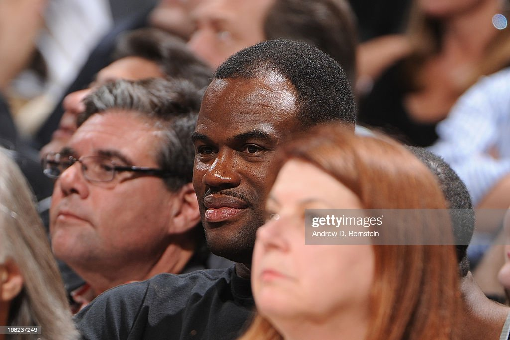 Former NBA player David Robinson during the game against the San Antonio Spurs and Golden State Warriors in Game One of the Western Conference Semifinals during the 2013 NBA Playoffs on May 6, 2013 at the AT&T Center in San Antonio, Texas.