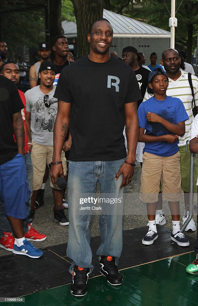Former NBA Player Dee Brown arrives at the Reebok Classic Pump Omni Lite Dunk Contest at EBC at Rucker Park on June 20, 2013 in New York City.
