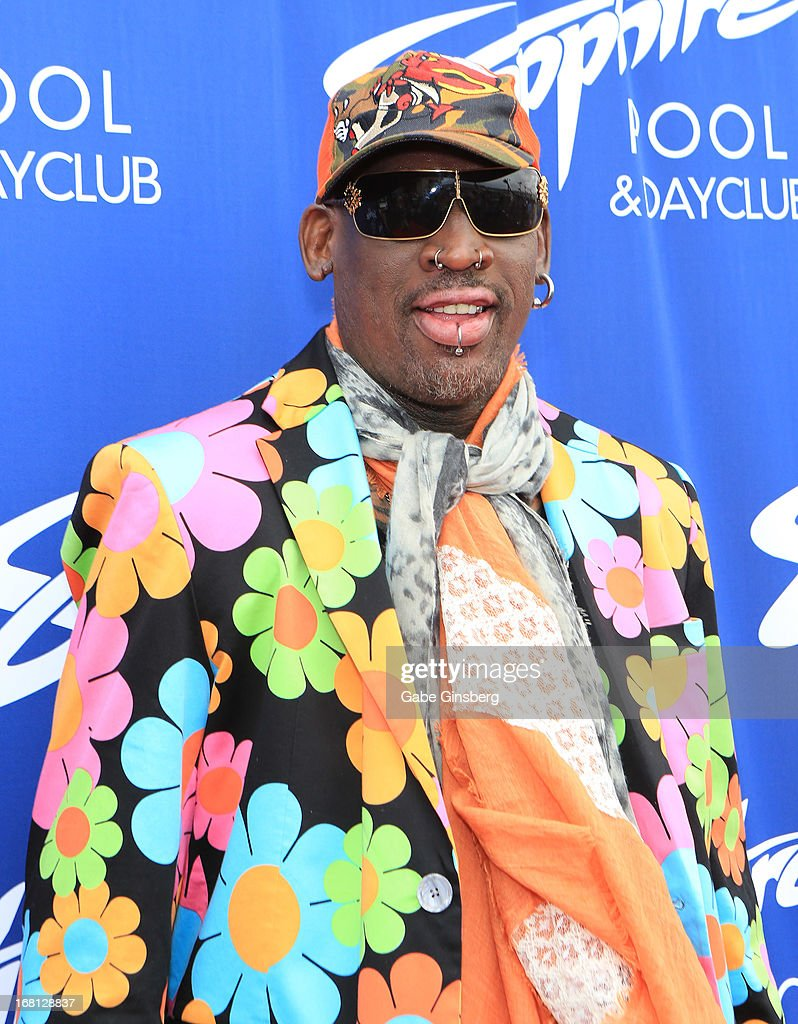 Former NBA player Dennis Rodman arrives at the Sapphire Pool & Day Club grand opening party on May 5, 2013 in Las Vegas, Nevada.