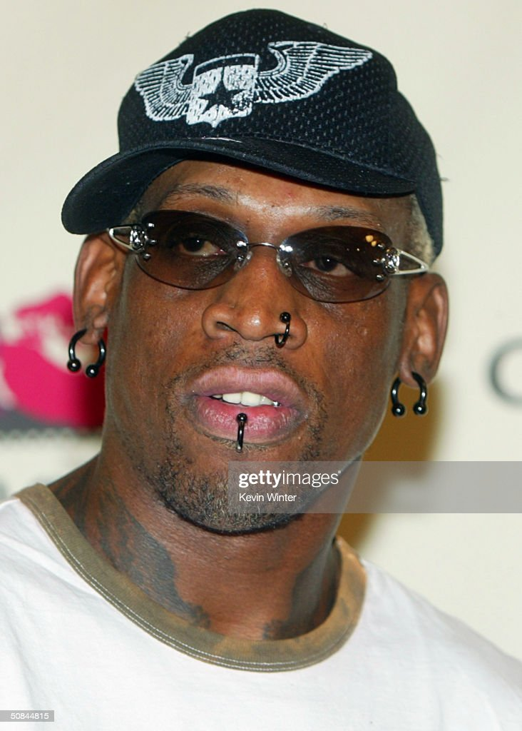Former NBA Player Dennis Rodman arrives at The 11th Annual 'Race to Erase MS' at the Century Plaza Hotel on May 14 2004 in Los Angeles California