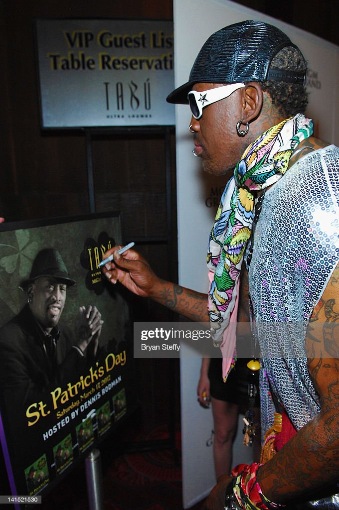 Former NBA player <a gi-track='captionPersonalityLinkClicked' href=/galleries/search?phrase=Dennis+Rodman&family=editorial&specificpeople=202643 ng-click='$event.stopPropagation()'>Dennis Rodman</a> arrives at the St. Patricks Day Party at the Tabu Ultra Lounge at the MGM Grand Hotel/Casino on March 17, 2012 in Las Vegas, Nevada.