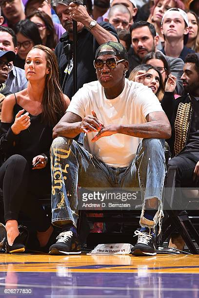 Former NBA player Dennis Rodman attends the Golden State Warriors game against the Los Angeles Lakers on November 25 2016 at STAPLES Center in Los...