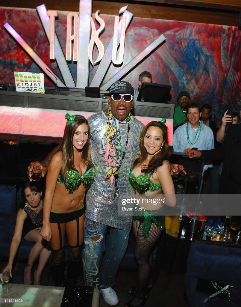 Former NBA player <a gi-track='captionPersonalityLinkClicked' href=/galleries/search?phrase=Dennis+Rodman&family=editorial&specificpeople=202643 ng-click='$event.stopPropagation()'>Dennis Rodman</a> hosts St. Patricks Day Party at the Tabu Ultra Lounge at the MGM Grand Hotel/Casino on March 17, 2012 in Las Vegas, Nevada.