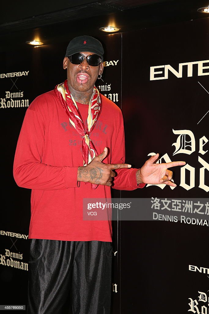 Former NBA player <a gi-track='captionPersonalityLinkClicked' href=/galleries/search?phrase=Dennis+Rodman&family=editorial&specificpeople=202643 ng-click='$event.stopPropagation()'>Dennis Rodman</a> meets fans at Enterbay flagship store on September 20, 2014 in Hong Kong, Hong Kong.