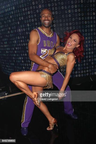 Former NBA player Derek Fisher and dancer Sharna Burgess attend 'Dancing with the Stars' season 25 at CBS Televison City on September 18 2017 in Los...