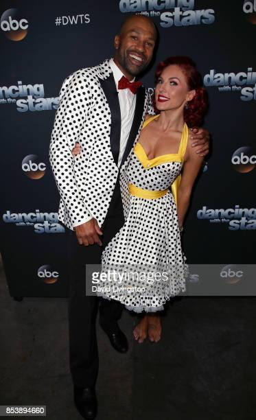 Former NBA player Derek Fisher and dancer Sharna Burgess attend 'Dancing with the Stars' season 25 at CBS Televison City on September 25 2017 in Los...