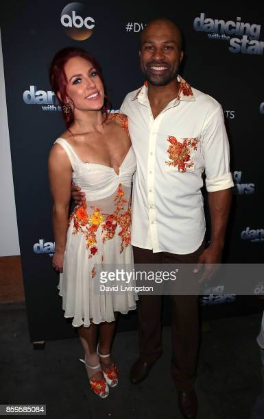 Former NBA player Derek Fisher and dancer Sharna Burgess attend 'Dancing with the Stars' season 25 at CBS Televison City on October 9 2017 in Los...