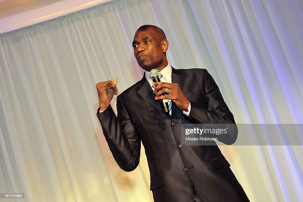 Former NBA player Dikembe Mutombo attends the Care For Congo Gala 2013 at the St. Regis Hotel on April 13, 2013 in Atlanta, Georgia.