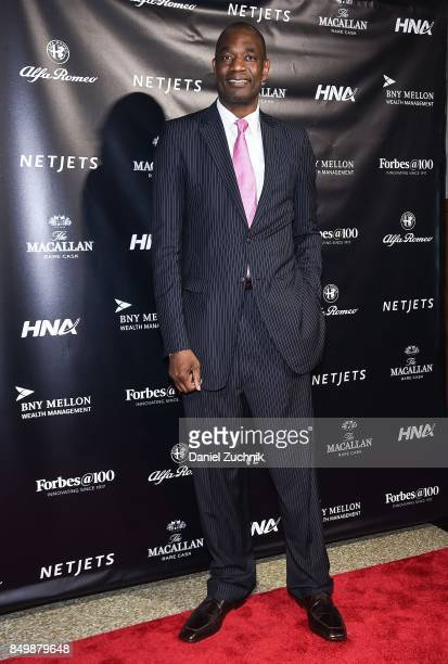 Former NBA Player Dikembe Mutombo attends the Forbes Media Centennial Celebration at Pier 60 on September 19 2017 in New York City
