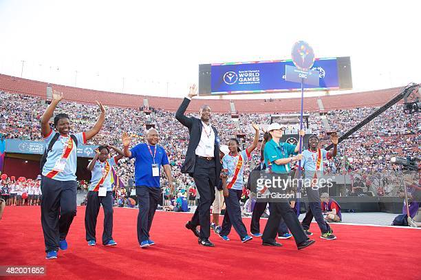 Former NBA Player Dikembe Mutombo attends the Opening Ceremony Of The Special Olympics World Games Los Angeles 2015 at Los Angeles Memorial Coliseum...