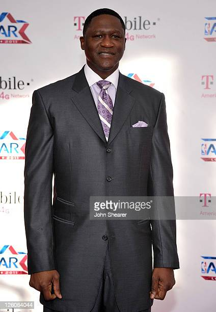Former NBA player Dominique Wilkins arrives at the TMobile Magenta Carpet at the 2011 NBA AllStar Game at LA Live on February 20 2011 in Los Angeles...