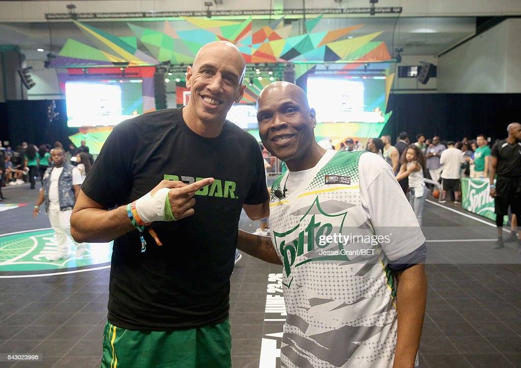 Former NBA player Doug Christie (L) and radio personality Big Boy participate in the celebrity basketball game presented by Sprite during the 2016 BET Experience on June 25, 2016 in Los Angeles, California.