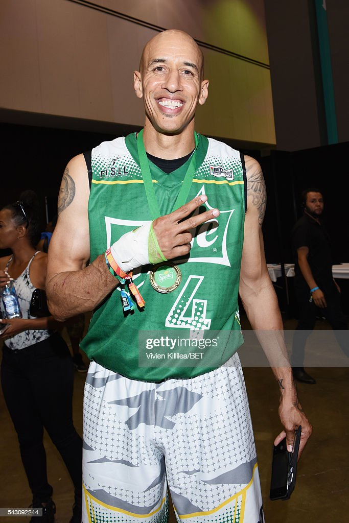 Former NBA player <a gi-track='captionPersonalityLinkClicked' href=/galleries/search?phrase=Doug+Christie&family=editorial&specificpeople=201627 ng-click='$event.stopPropagation()'>Doug Christie</a> poses in the green room at the celebrity basketball game during the 2016 BET Experience at the JW Marriott Los Angeles L.A. Live on June 25, 2016 in Los Angeles, California.