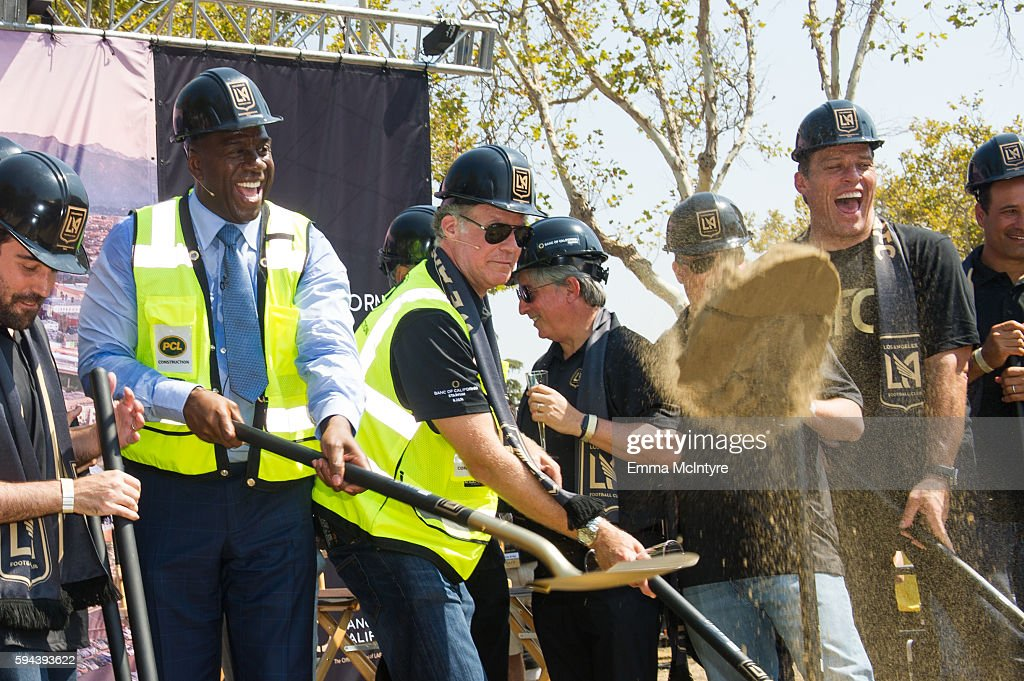 Former NBA player Earvin 'Magic' Johnson actor Will Ferrell and motivational speaker Tony Robbins attend the Los Angeles Football Club stadium...