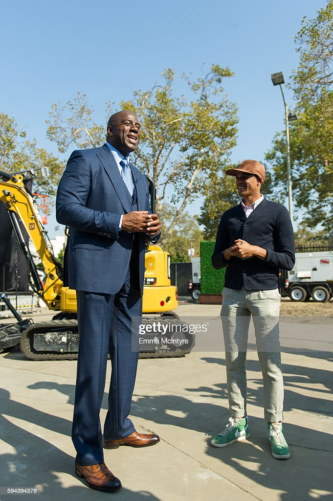Former NBA player Earvin 'Magic' Johnson and Calen Carr attend the Los Angeles Football Club stadium groundbreaking ceremony on August 23 2016 in Los...