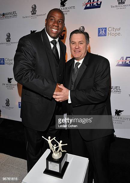 Former NBA Player Earvin 'Magic' Johnson and Honoree AEG President and CEO Tim Leiweke attends City Of Hope's 'Spirit Of Life' Award Dinner Gala held...