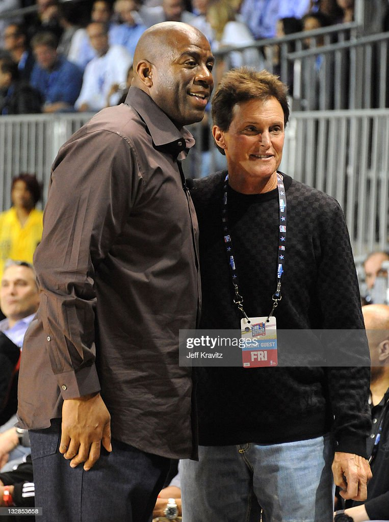 Former NBA Player Earvin 'Magic' Johnson and TV Personality Bruce Jenner during the 2011 BBVA NBA AllStar Celebrity Game at Los Angeles Convention...