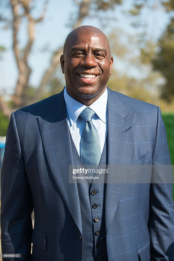 Former NBA player Earvin 'Magic' Johnson attends the Los Angeles Football Club stadium groundbreaking ceremony on August 23 2016 in Los Angeles...
