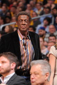 Former NBA player Elgin Baylor attends a game between the Dallas Mavericks and the Los Angeles Lakers at Staples Center on April 2 2013 in Los...