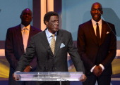 Former NBA player Elgin Baylor speaks onstage at the 28th Anniversary Sports Spectacular Gala at the Hyatt Regency Century Plaza on May 19 2013 in...