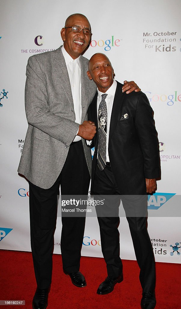 Former NBA player George 'The Iceman' Gervin and singer Jeffrey Osborne attend the 8th All Star Celebrity Classic benefiting the Mr October Foundation for Kids at Cosmopolitan Hotel on November 11, 2012 in Las Vegas, Nevada.