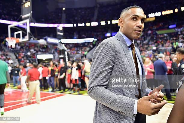 Former NBA Player Grant Hill attend Boston Celtics vs Atlanta Hawks game at Philips Arena on January 13 2017 in Atlanta Georgia