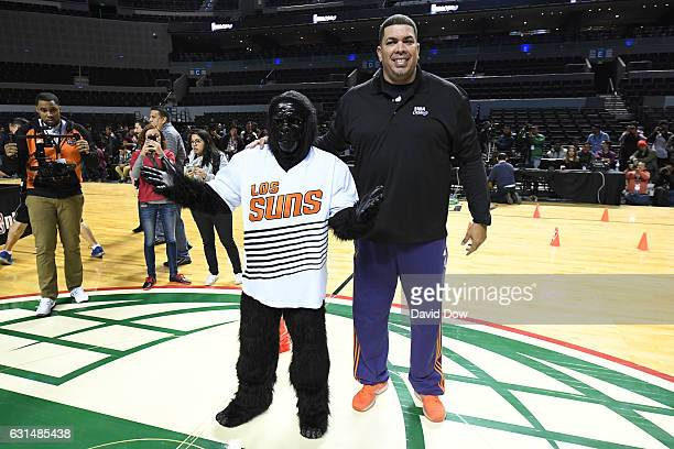 Former NBA player Horacio Llamas and the Mascot of the Phoenix Suns The Gorilla participate in a NBA Cares Unified Basketball Clinic during NBA...
